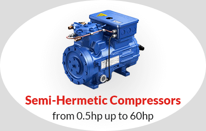 Semi-Hermetic Compressors from 0.5hp up to 60hp